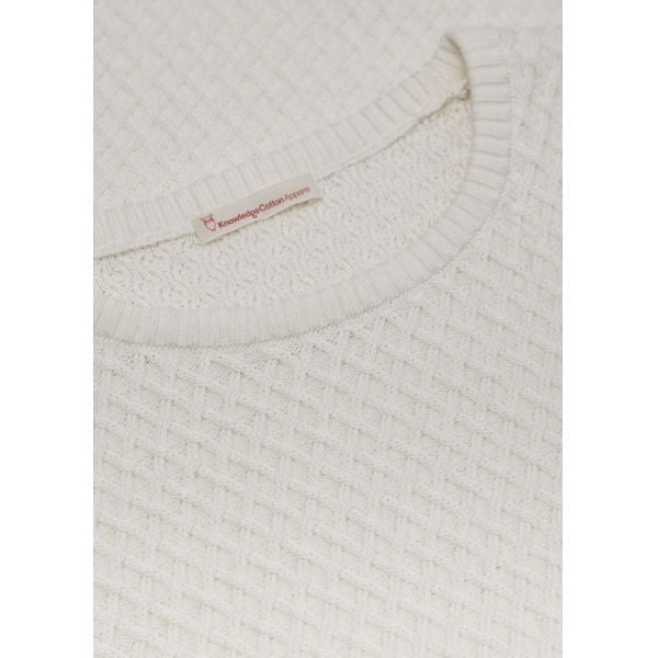 Pull blanc en coton bio - small diamond knit - Knowledge Cotton Apparel num 3