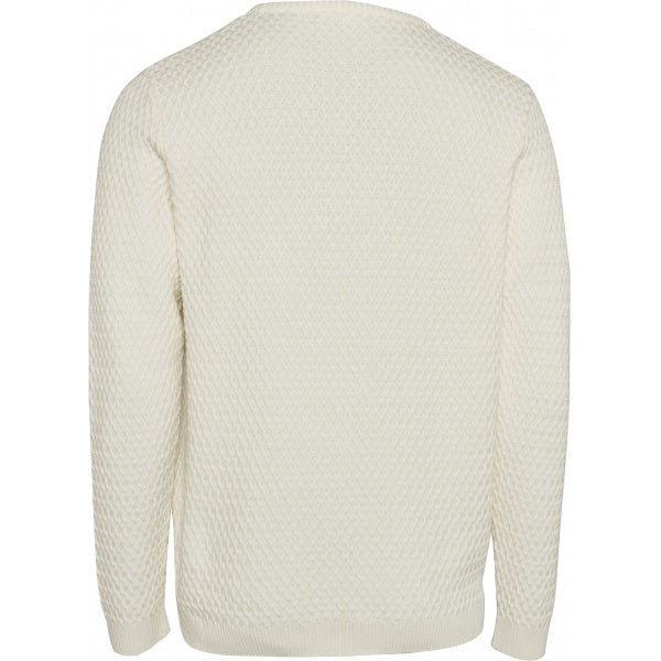 Pull blanc en coton bio - small diamond knit - Knowledge Cotton Apparel num 1
