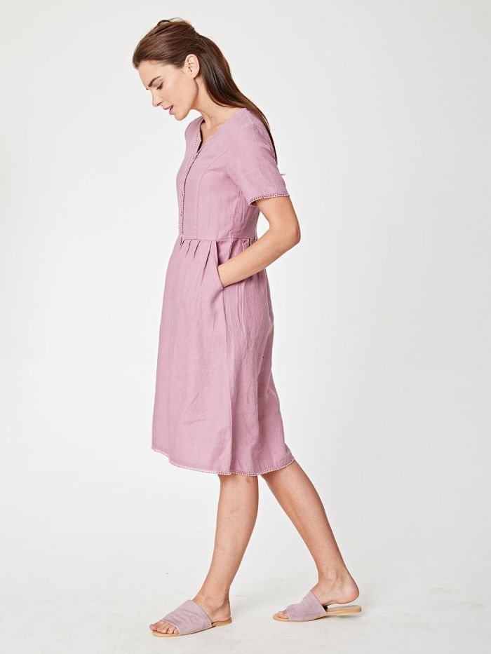Robe en chanvre rose à col boutonné - Thought num 0