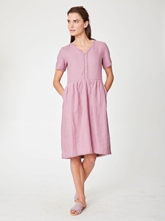 Robe en chanvre rose à col boutonné - Thought num 3