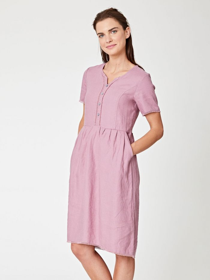 Robe en chanvre rose à col boutonné - Thought num 2