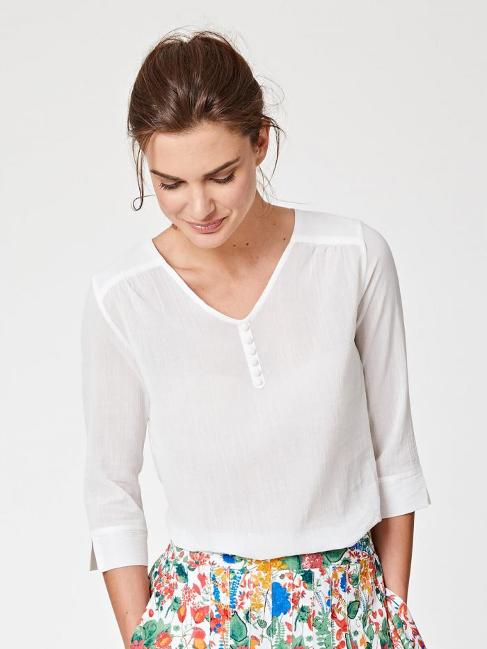 Thought - Blouse en coton bio blanche
