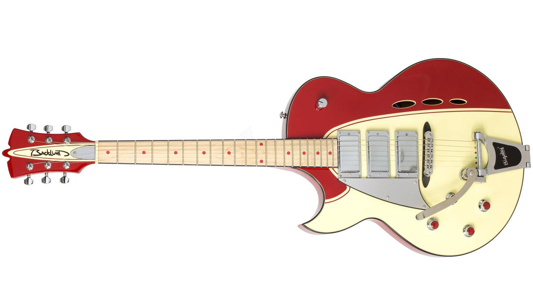 Eastwood Guitars Backlund Rockerbox DLX LH Red/Creme Angled
