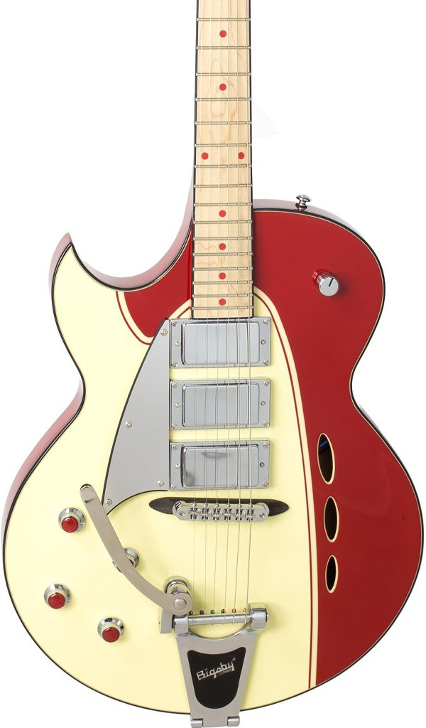 Eastwood Guitars Backlund Rockerbox DLX LH Red/Creme Featured