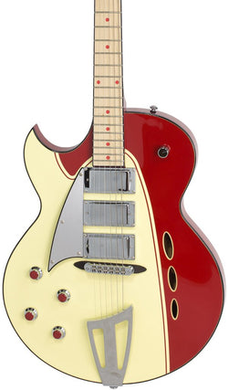 Eastwood Guitars Backlund Rockerbox LH Red/Creme Featured