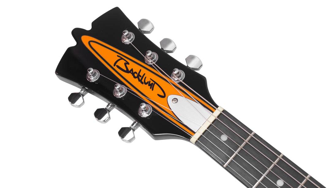 Eastwood Guitars Backlund Rockerbox II LH Orange Headstock