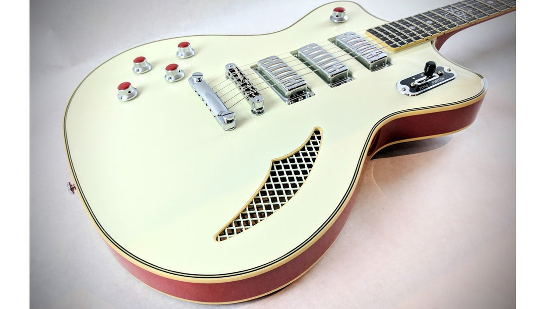 Eastwood Guitars Bill Nelson Astroluxe Cadet Vintage Cream and Fiesta Red LH Closeup