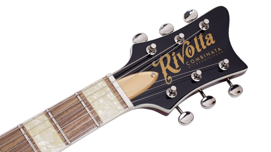 Eastwood Guitars Rivolta Combinata Autunno Burst Headstock