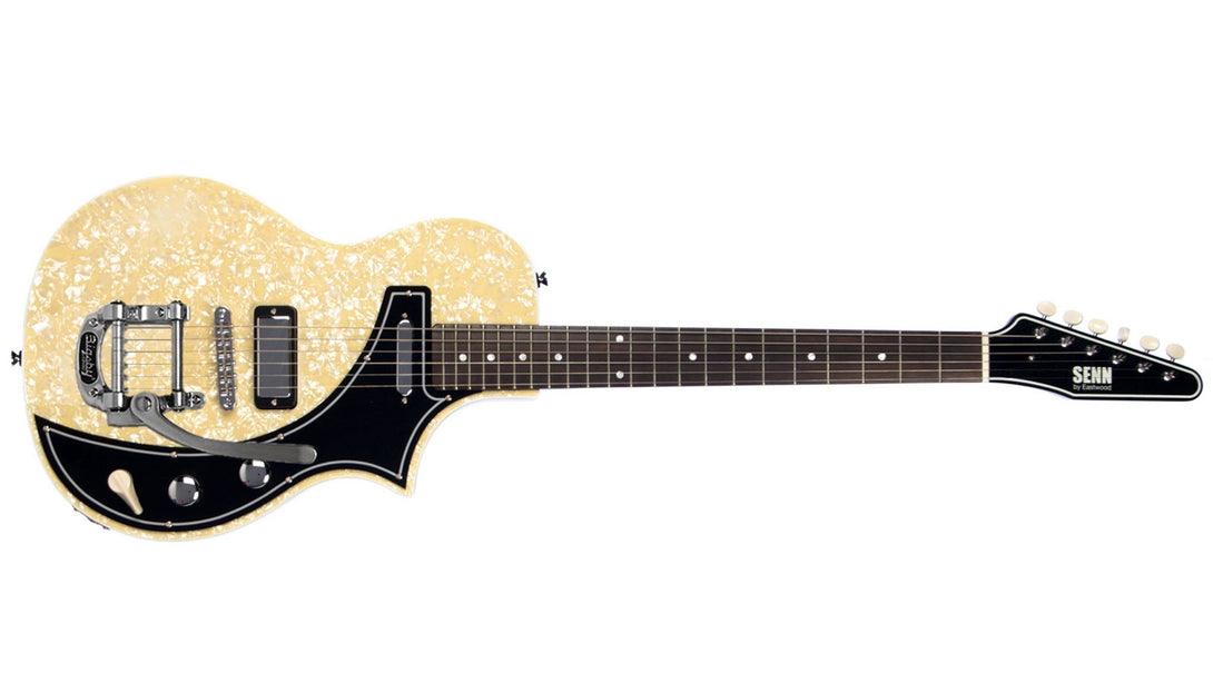 Eastwood Guitars The Continental DLX by Jeff Senn Pearloid Angled