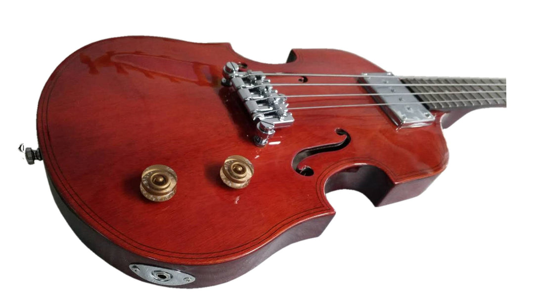 Eastwood Guitars EB 1 Bass Natural Mahogany Stain Player POV