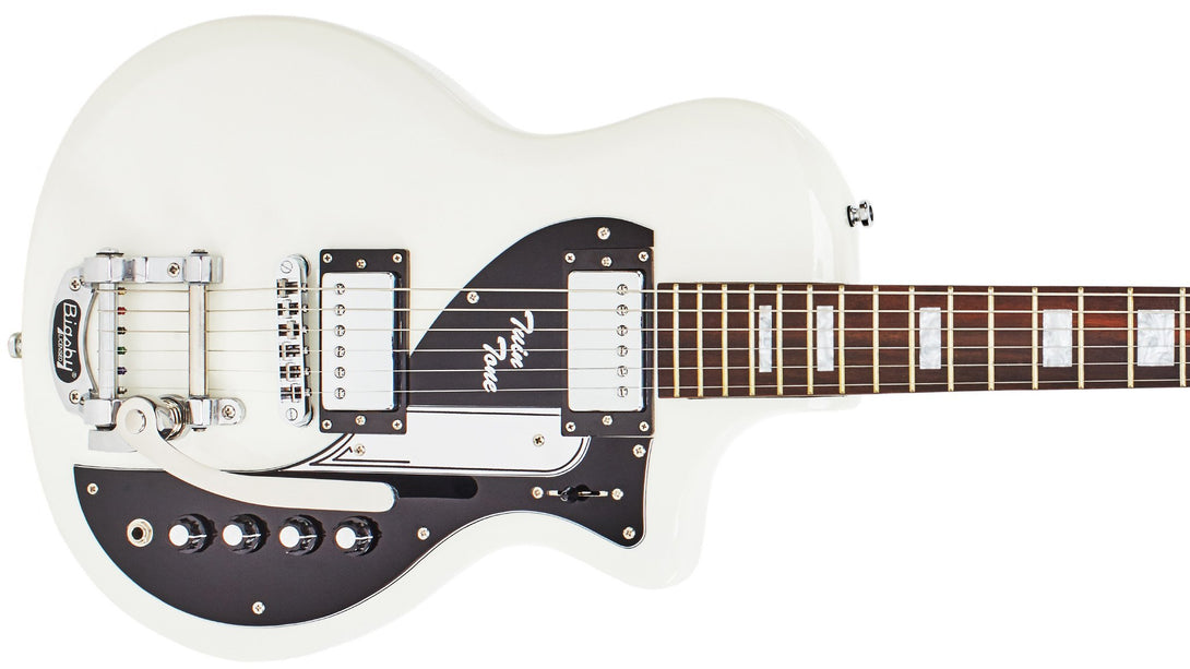 Eastwood Guitars Airline Twin Tone DLX White Closeup