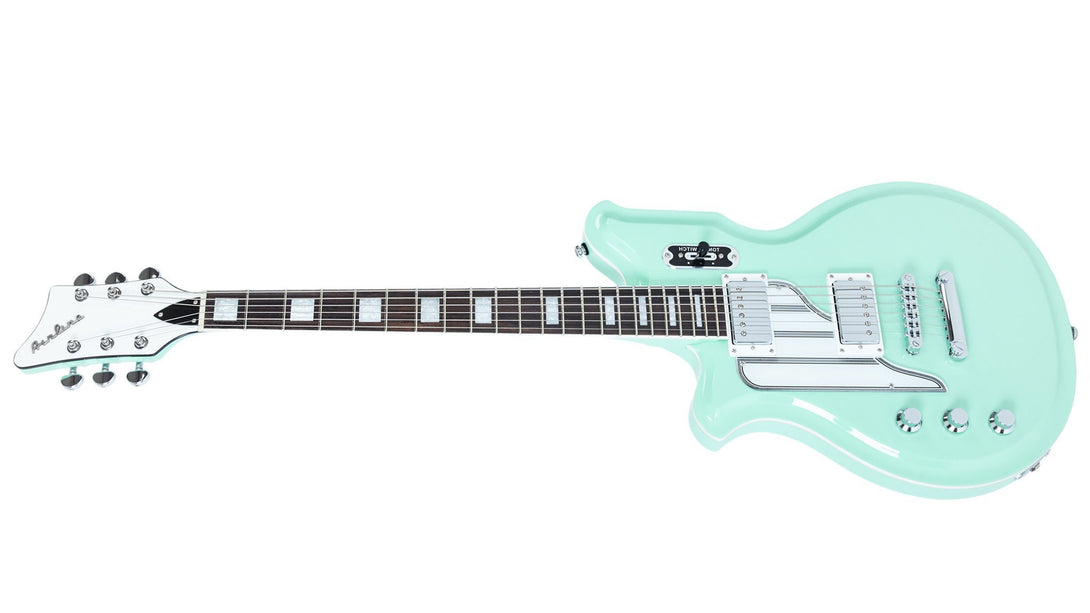 Eastwood Guitars Airline Map Baritone Seafoam Green LH Angled