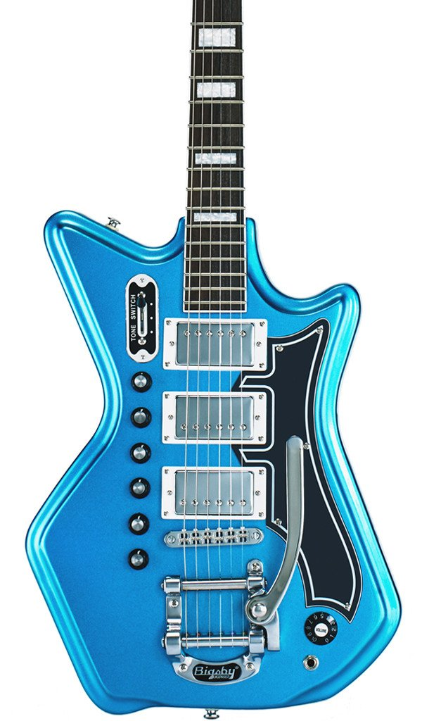 Eastwood Guitars Airline 593P DLX Metallic Blue and Black Featured