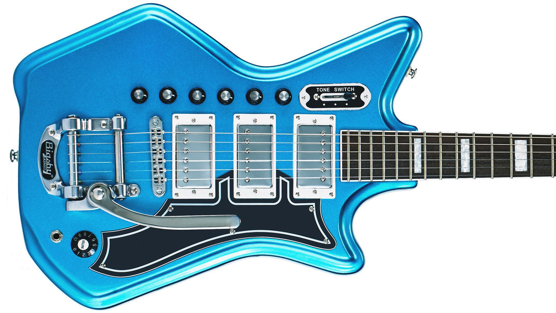 Eastwood Guitars Airline 593P DLX Metallic Blue and Black Closeup
