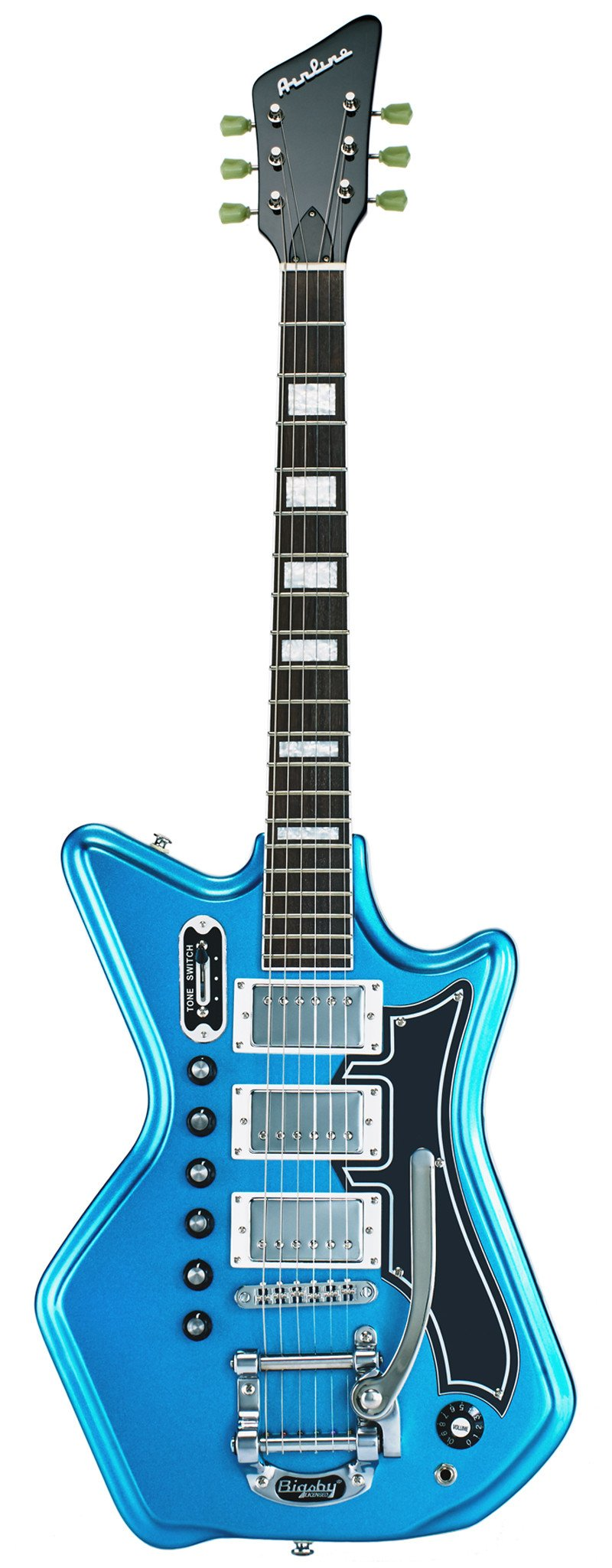 Eastwood Guitars Airline 593P DLX Metallic Blue and Black Full Front
