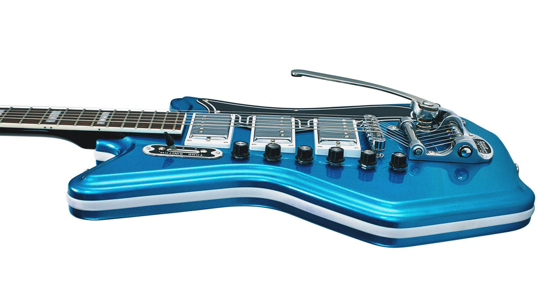 Eastwood Guitars Airline 593P DLX Metallic Blue and Black Player POV