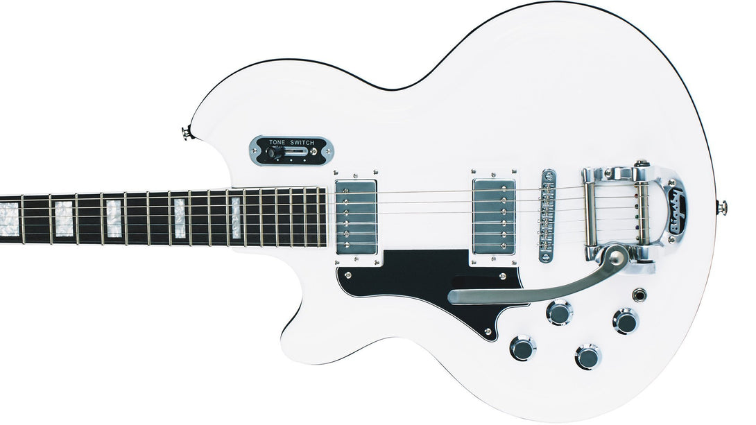 Eastwood Guitars Airline 59 Coronado White LH Closeup