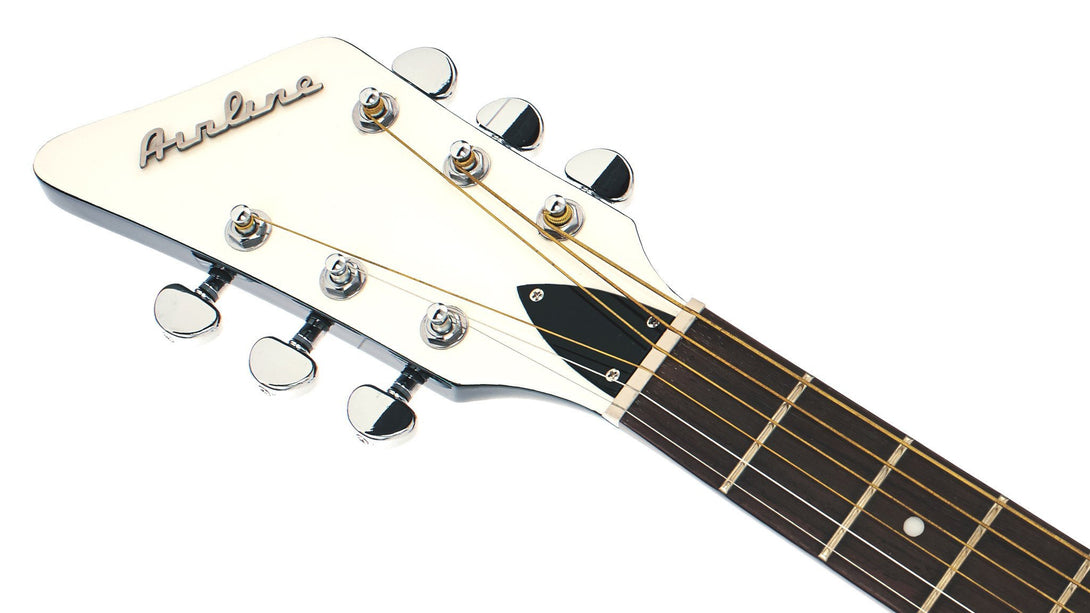 Eastwood Guitars Airline Folkstar Black LH Headstock