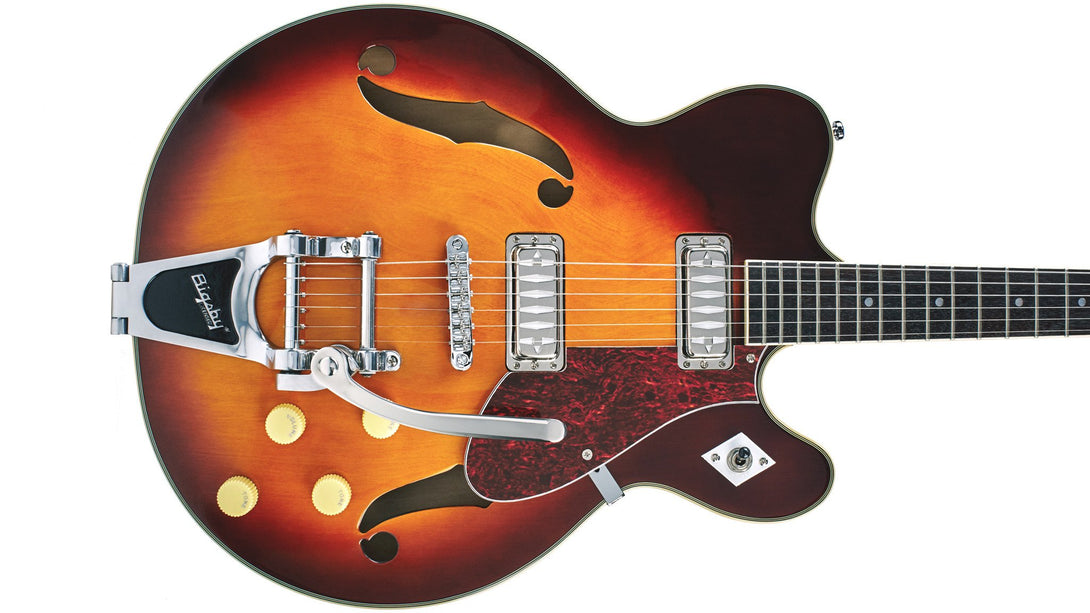 Eastwood Guitars Airline H74 DLX Honeyburst Closeup