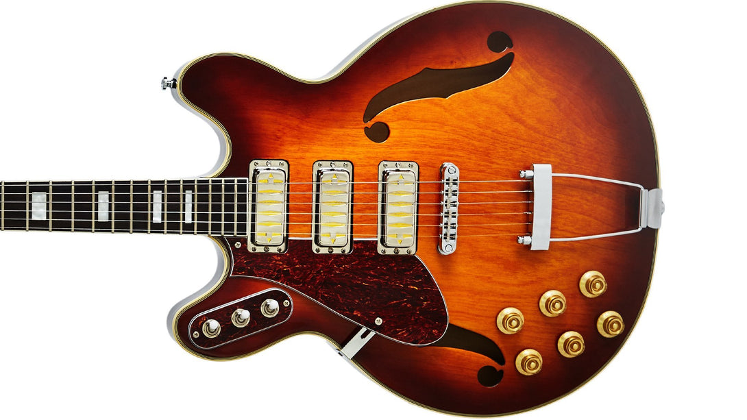Eastwood Guitars Airline H77 Honeyburst LH Closeup