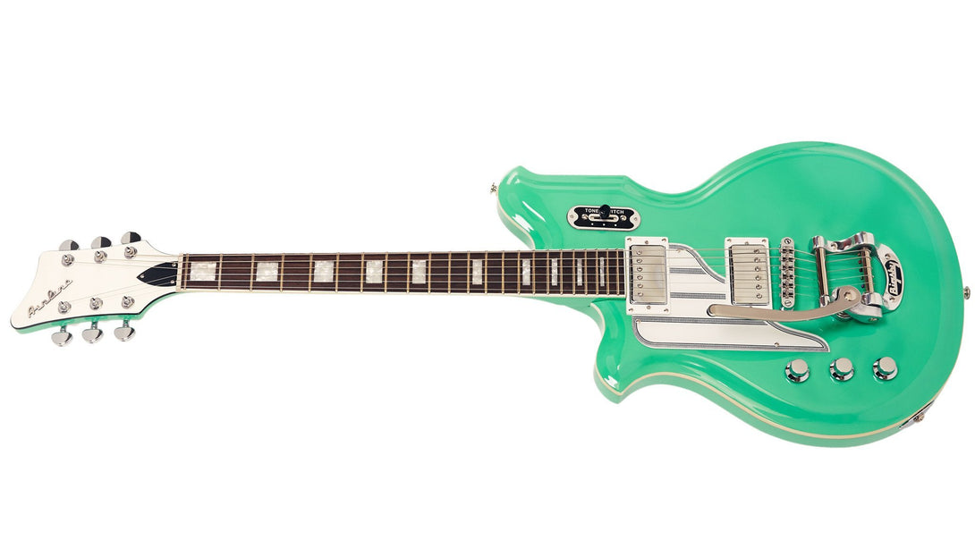 Eastwood Guitars Airline Map DLX Seafoam Green LH Angled