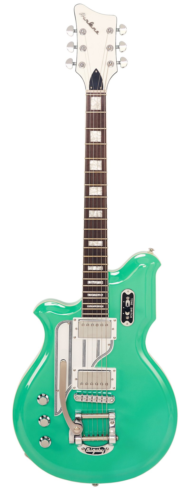 Eastwood Guitars Airline Map DLX Seafoam Green Left Hand Full Front