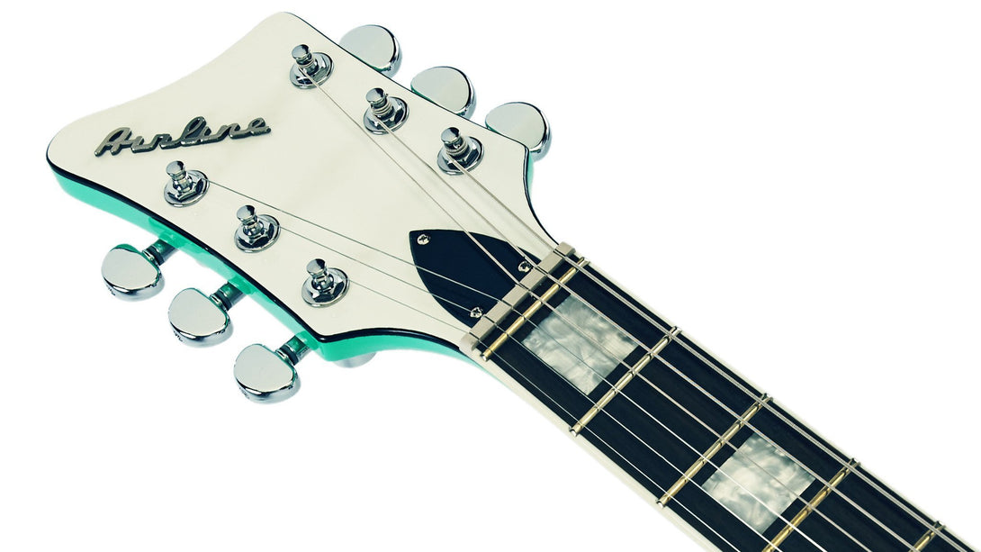Eastwood Guitars Airline Map DLX Seafoam Green LH Headstock