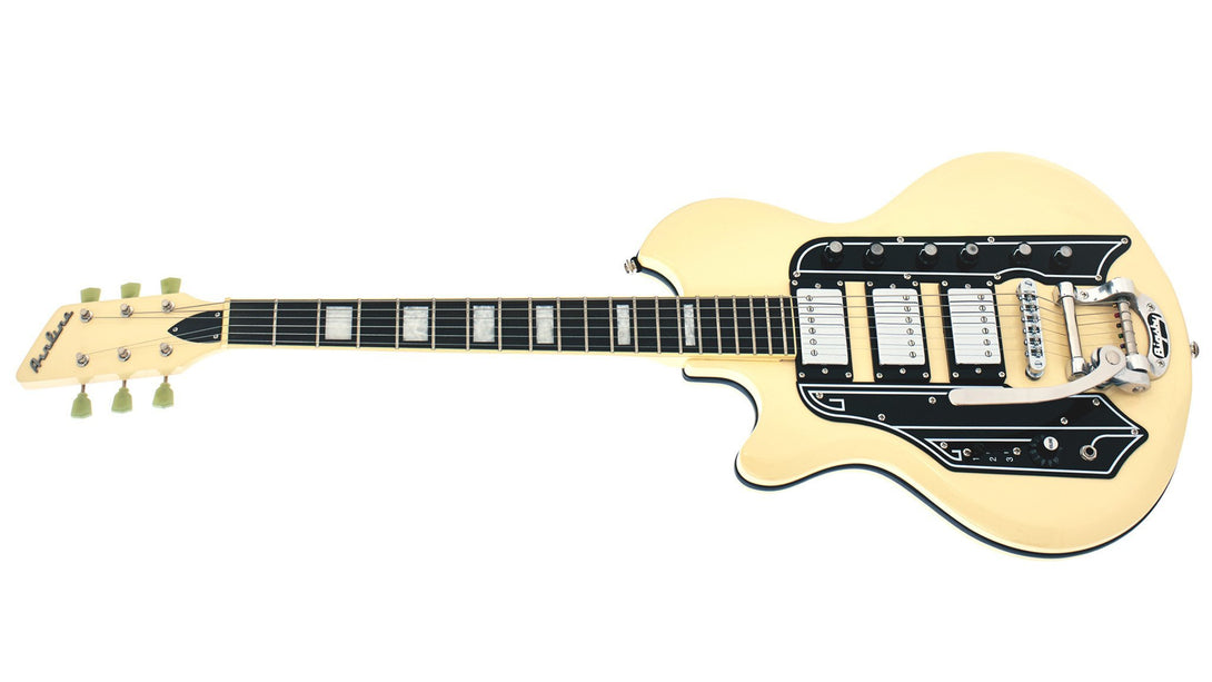 Eastwood Guitars Airline 59 Town & Country DLX Vintage Cream LH Angled