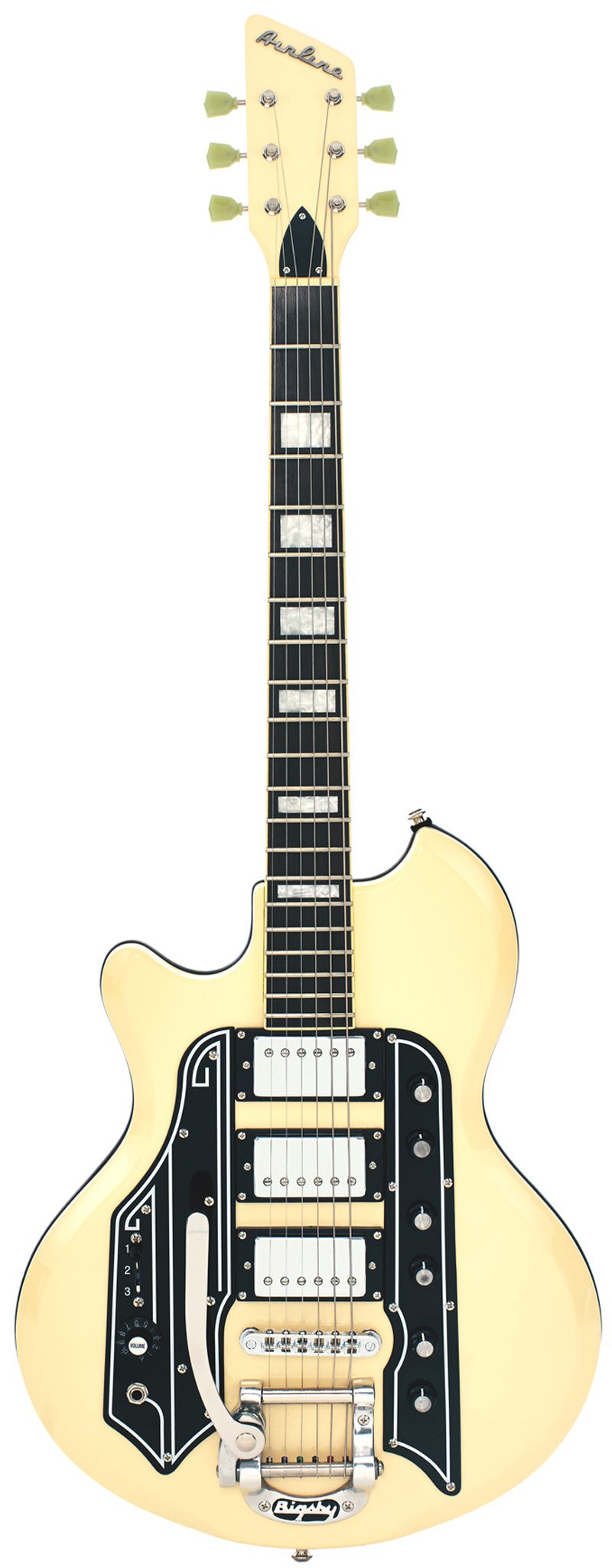 Eastwood Guitars Airline 59 Town & Country DLX Vintage Cream Left Hand Full Front