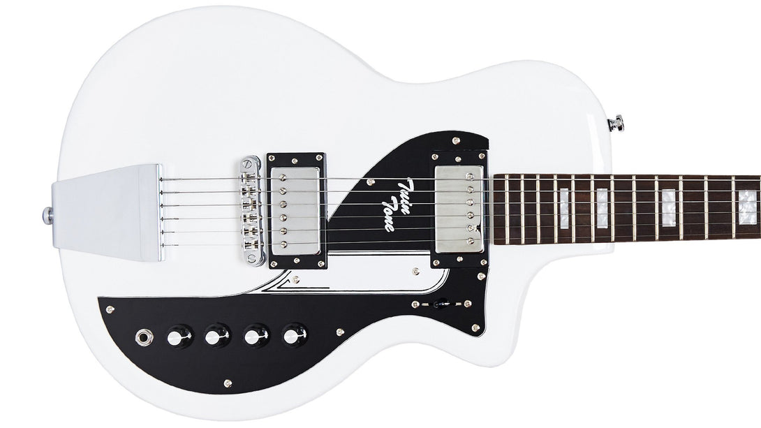 Eastwood Guitars Airline Twin Tone White Closeup