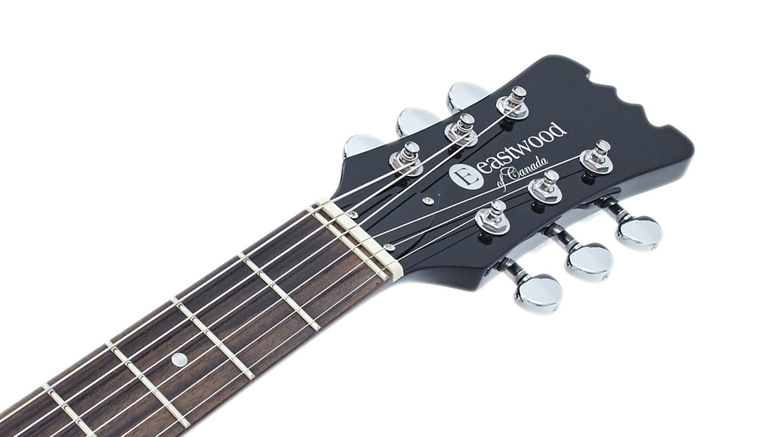 Eastwood Guitars Black Widow Black Headstock