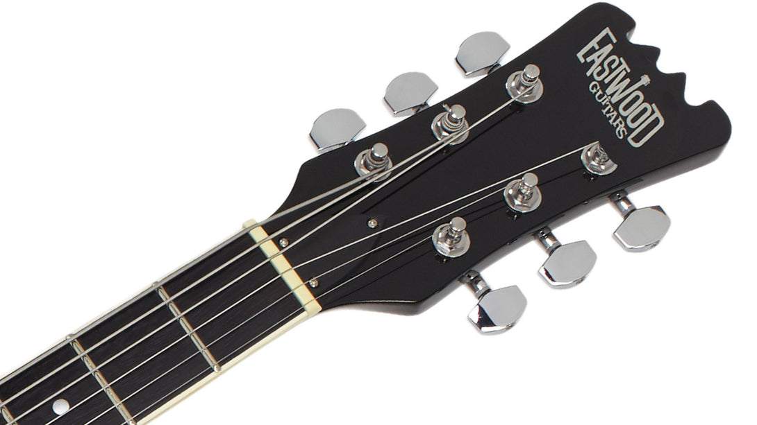 Eastwood Guitars Delta 6 Baritone Sunburst Headstock