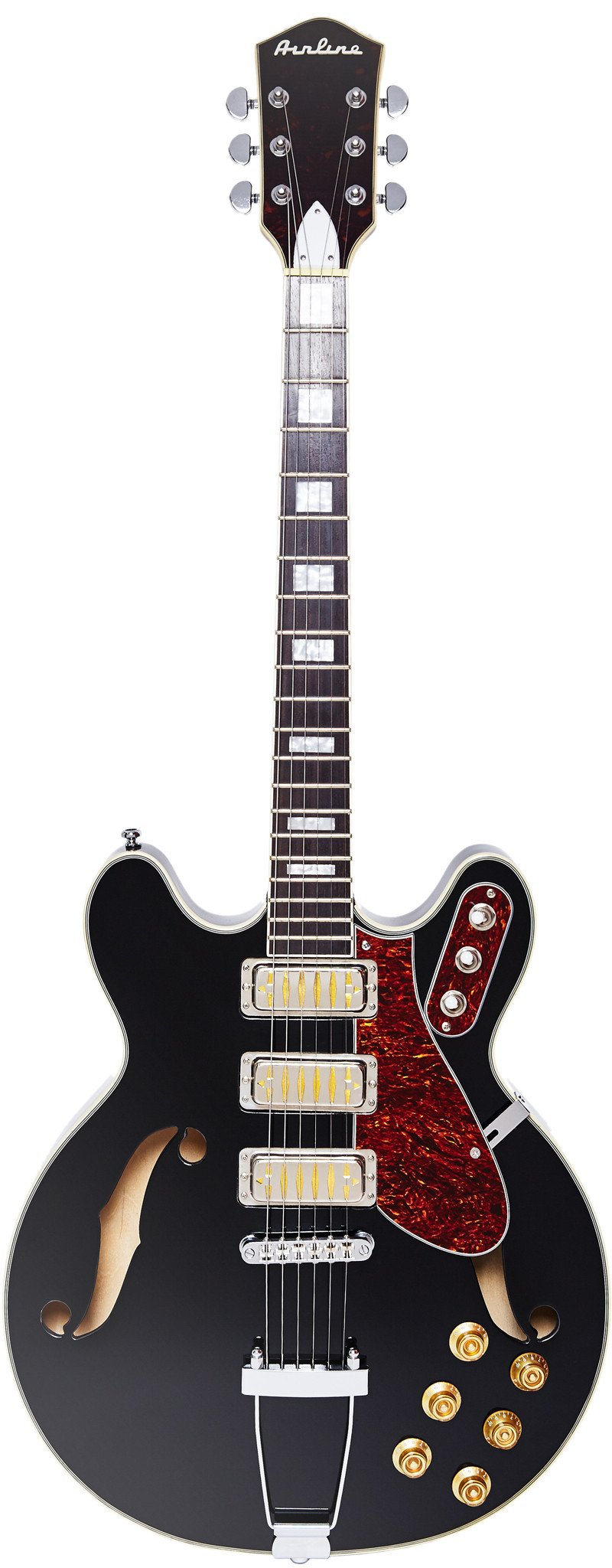 Eastwood Guitars Airline H77 Black Full Front