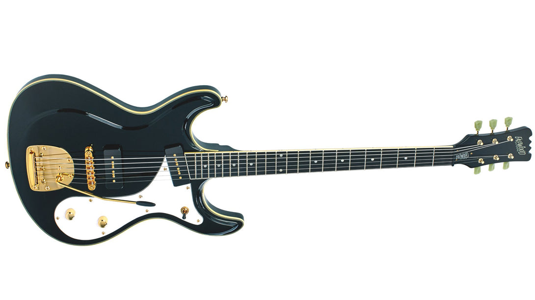 Eastwood Guitars Sidejack Baritone DLX Black and Gold Angled