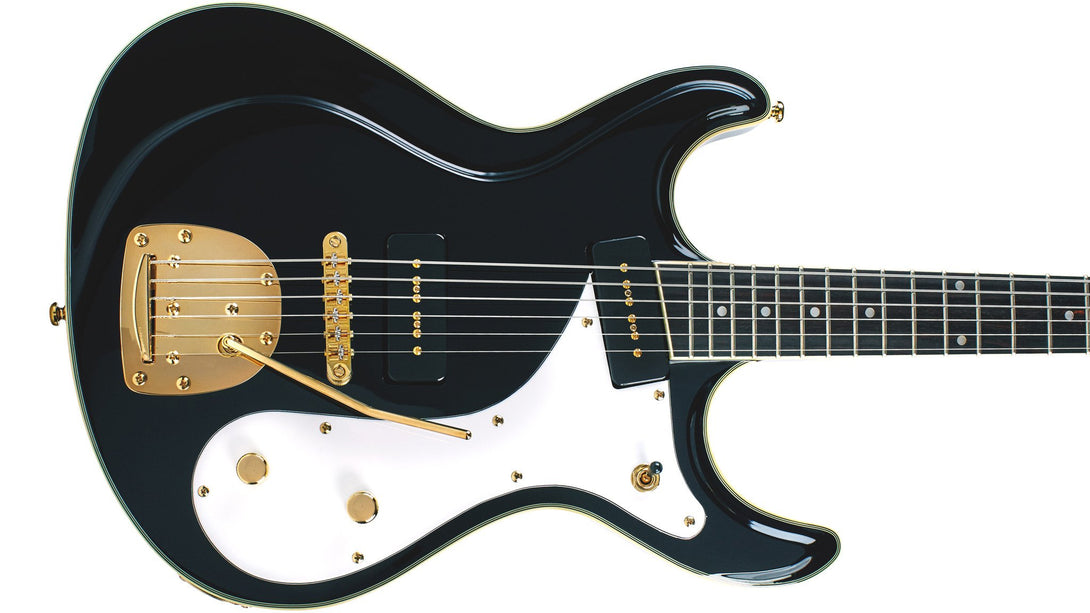 Eastwood Guitars Sidejack Baritone DLX Black and Gold Closeup