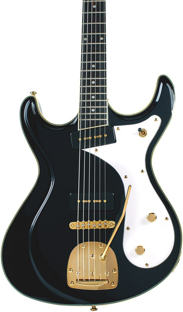 Eastwood Guitars Sidejack Baritone DLX Black and Gold Featured