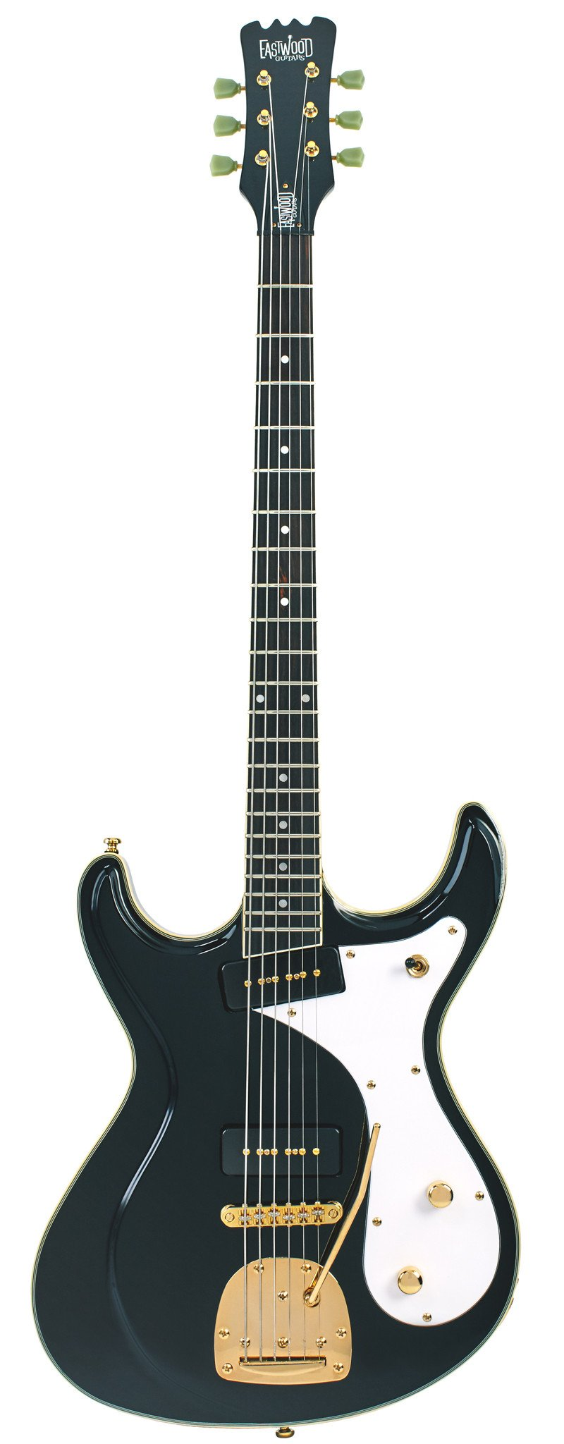 Eastwood Guitars Sidejack Baritone DLX Black and Gold Full Front