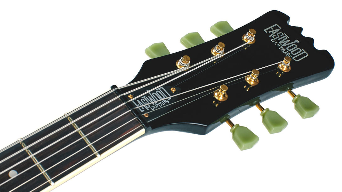 Eastwood Guitars Sidejack Baritone DLX Black and Gold Headstock