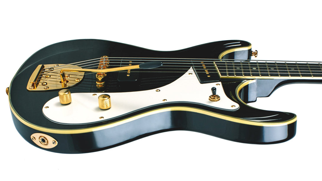 Eastwood Guitars Sidejack Baritone DLX Black and Gold Player POV