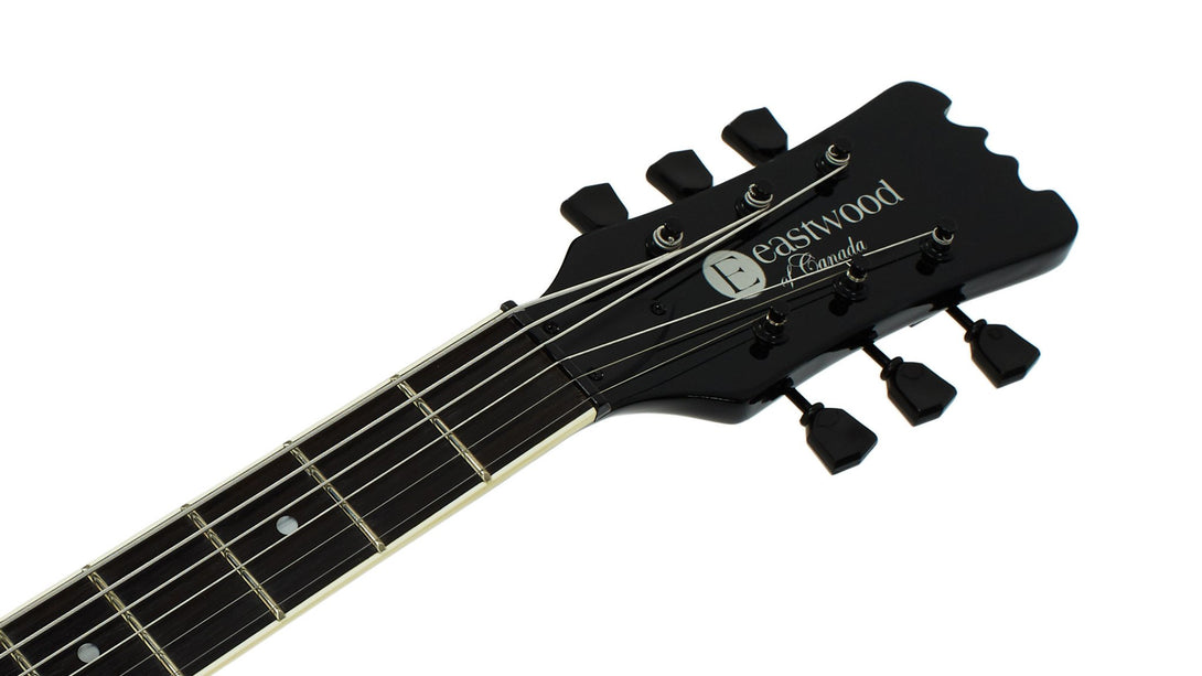 Eastwood Guitars Sidejack Baritone DLX Blackout Headstock