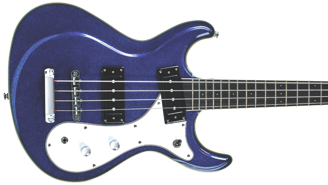 Eastwood Guitars Sidejack Bass 32 Metallic Blue Closeup