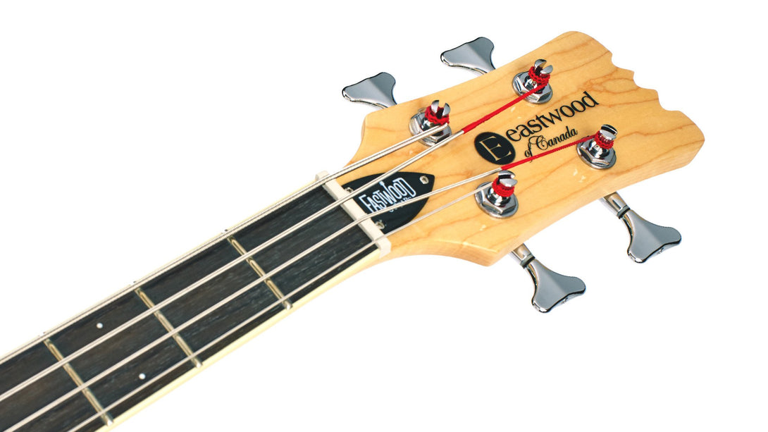 Eastwood Guitars Sidejack Bass 32 Metallic Blue Headstock
