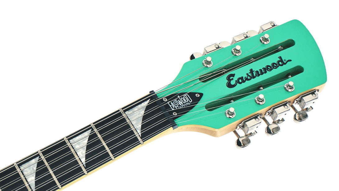 Eastwood Guitars Surfcaster 12 Seafoam Green Headstock