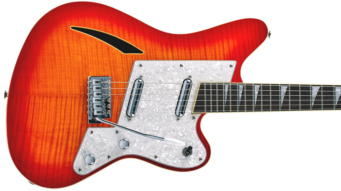 Eastwood Guitars Surfcaster Cherryburst Closeup
