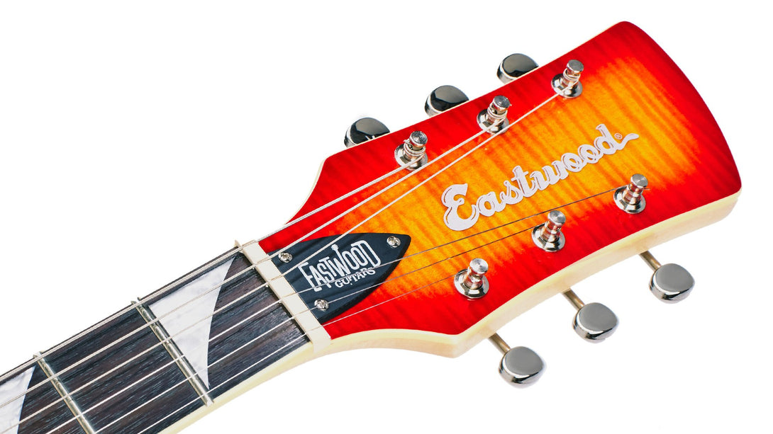 Eastwood Guitars Surfcaster Cherryburst Headstock