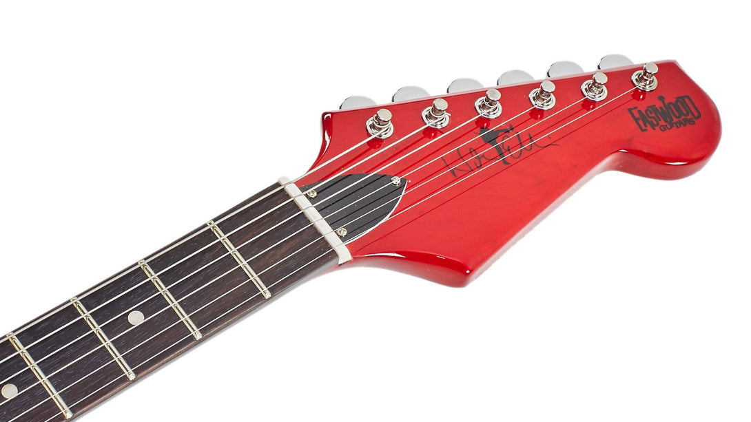Eastwood Guitars Warren Ellis 6 Dark Cherry Headstock