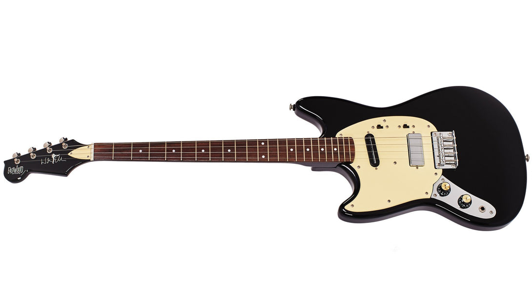 Eastwood Guitars Warren Ellis Tenor Baritone 2P Black LH Angled