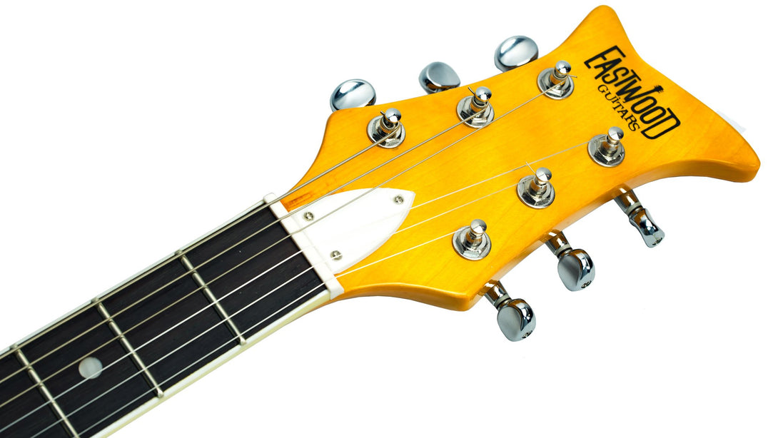 Eastwood Guitars Fire Bird Sunburst Headstock