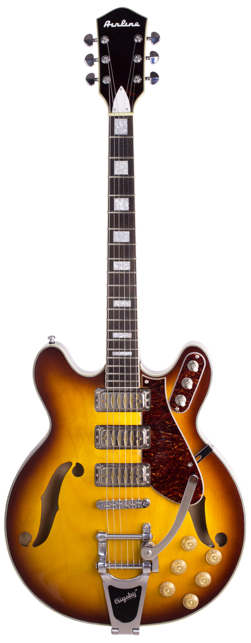 Eastwood Guitars Airline H78 Honeyburst Full Front