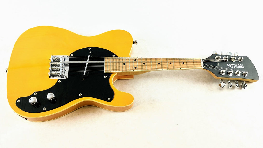 Eastwood Guitars Mandocaster 1P Butterscotch Angled